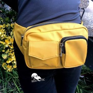 Handbags - Mustard Multi Compartment Chained Fanny Pack